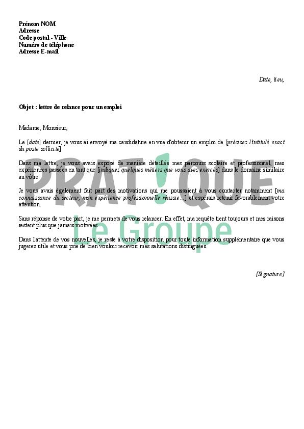 Lettre de relance pour un emploi | Pratique.fr