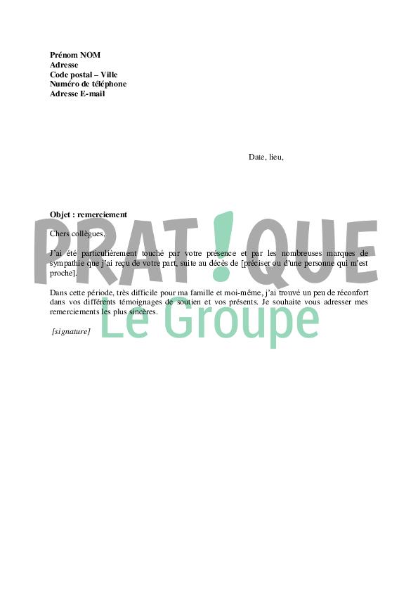 Lettre de remerciement à ses collègues après un décès | Pratique.fr