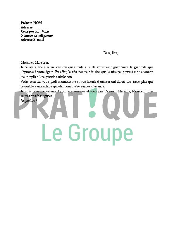 Lettre de remerciement à un avocat | Pratique.fr