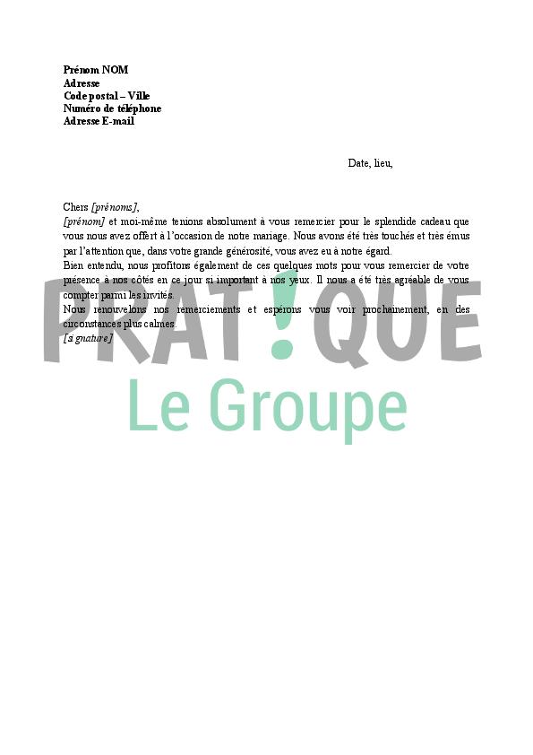Lettre de remerciement pour un cadeau de mariage | Pratique.fr
