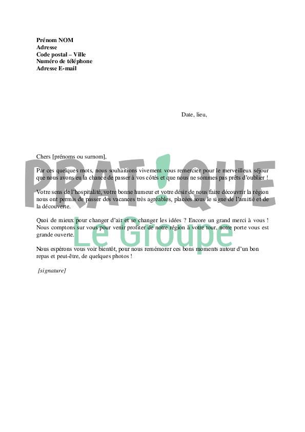 Lettre de remerciement pour un séjour passé chez un ami | Pratique.fr