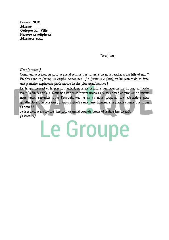 Lettre de remerciement pour un stage | Pratique.fr