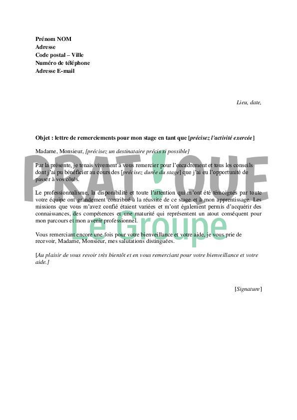 Lettre de remerciements à la fin d'un stage | Pratique.fr