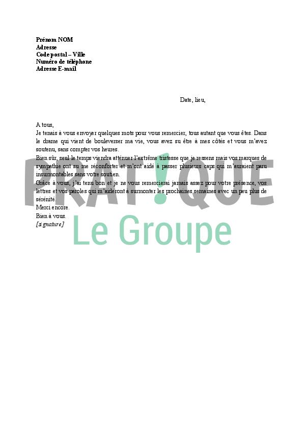 Lettre de remerciements à sa famille après un décès | Pratique.fr