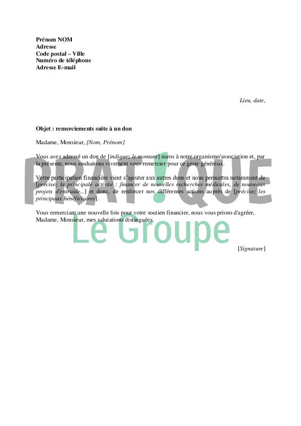 modele de lettre de don Lettre de remerciements suite à un don | Pratique.fr modele de lettre de don