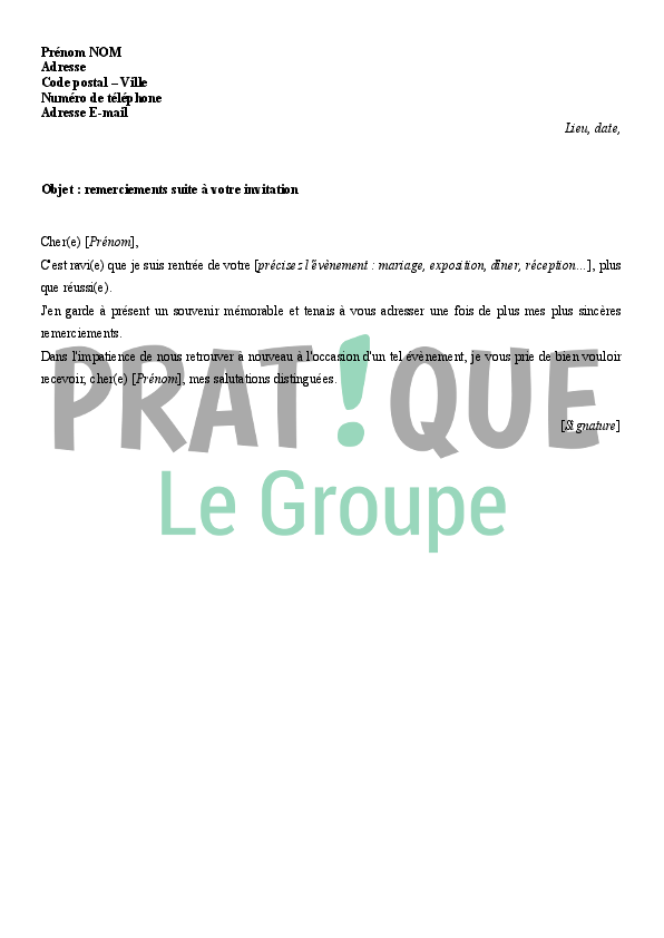Lettre de remerciements suite à une invitation | Pratique.fr