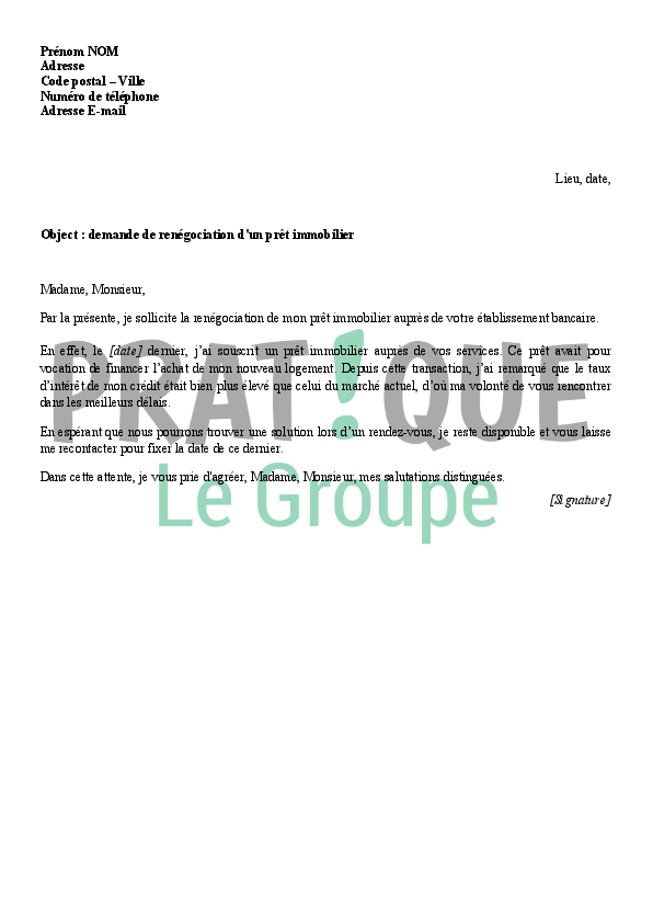 Lettre de ren gociation d 39 un pr t immobilier - Documents pret immobilier ...
