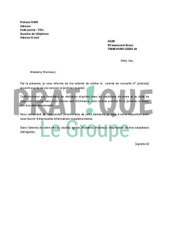 lettre de r u00e9siliation ag2r