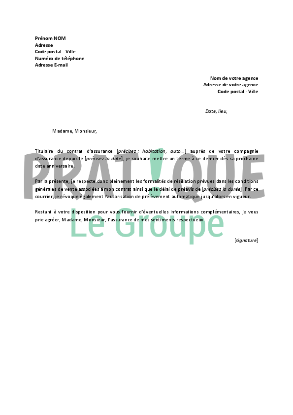 lettre de r u00e9siliation allianz