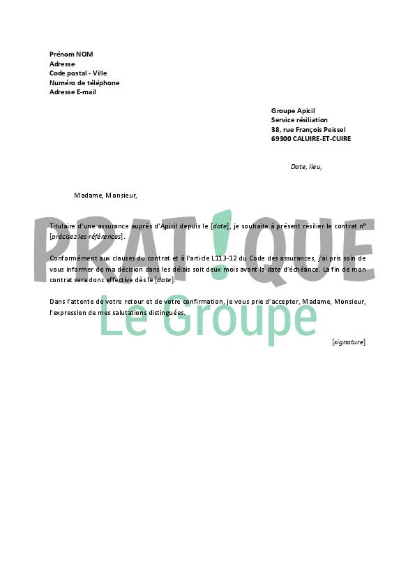 Lettre De Resiliation Apicil Pratique Fr