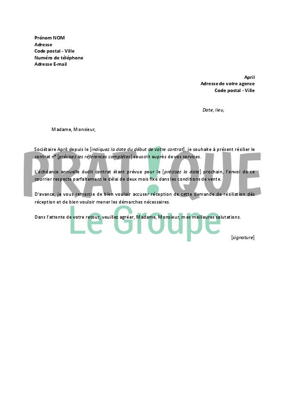 Lettre De Résiliation April Pratique Fr