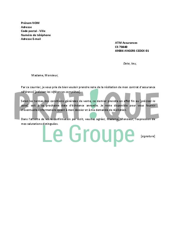 lettre de r u00e9siliation atm
