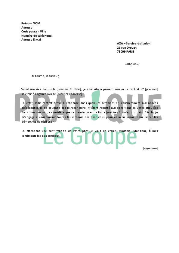 lettre de r u00e9siliation axa