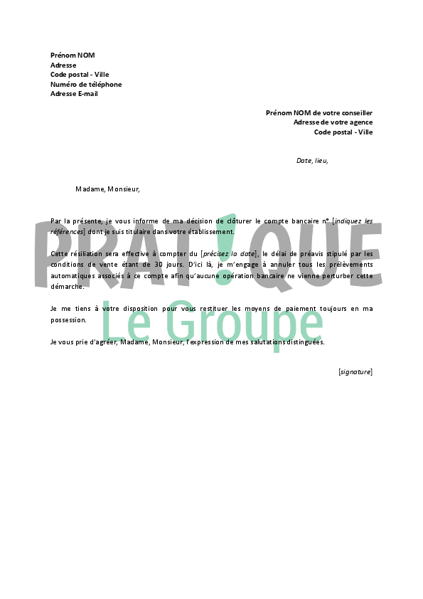 Lettre De Resiliation Banque La Poste Pratique Fr