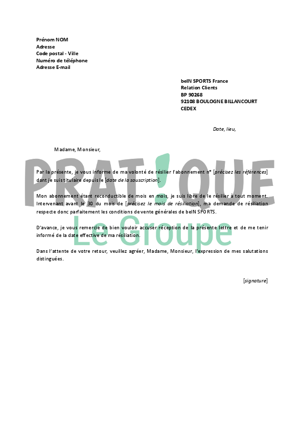 lettre de r u00e9siliation bein sports