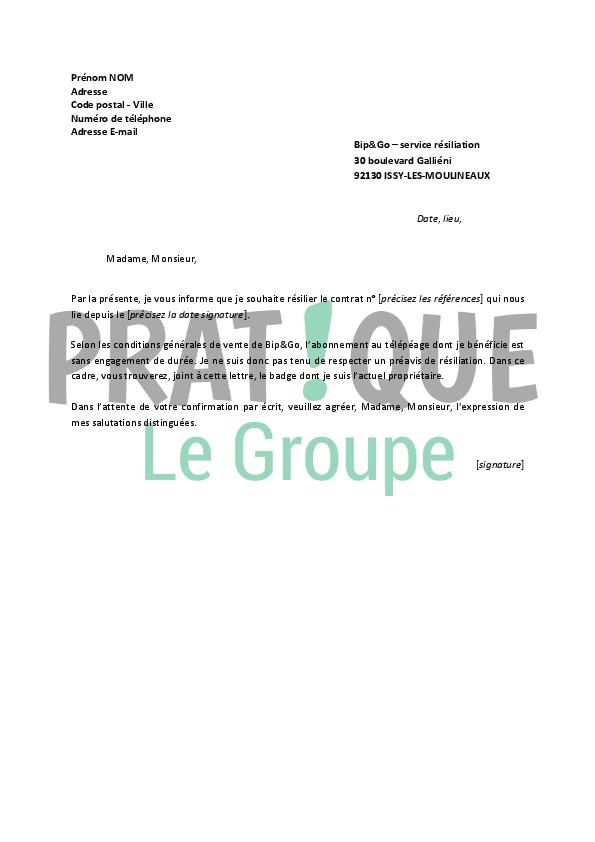 lettre de r u00e9siliation bip u0026go