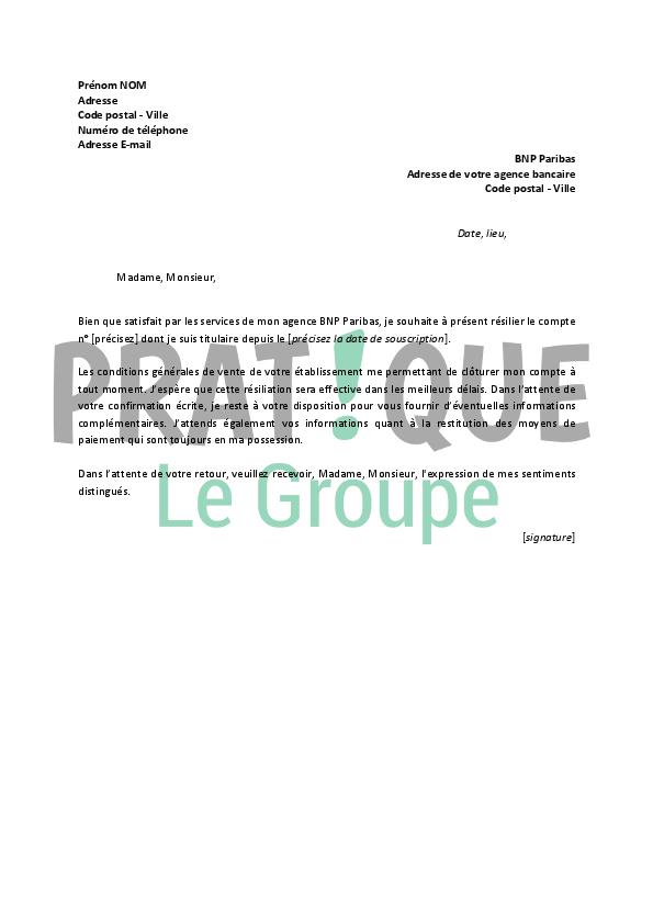 Lettre De Resiliation Bnp Paribas Pratique Fr