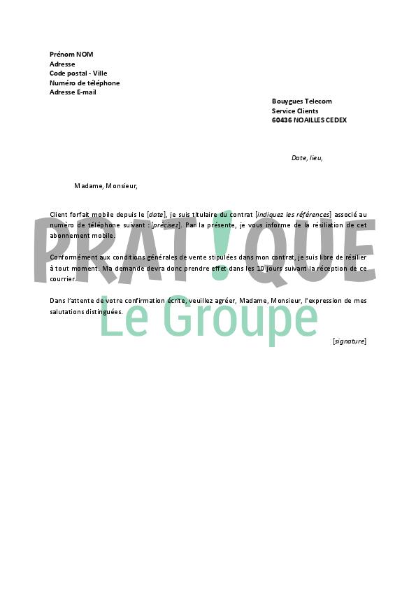 lettre de r u00e9siliation bouygues
