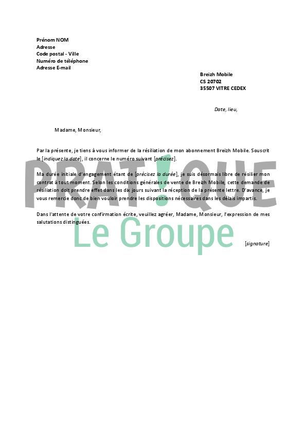 Lettre De Resiliation Breizh Mobile Pratique Fr