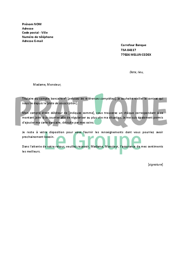 lettre de r u00e9siliation carrefour banque