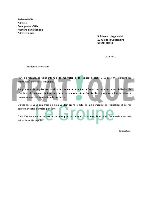 modele lettre resiliation carte credit Lettre de résiliation carte 3 Suisses | Pratique.fr modele lettre resiliation carte credit