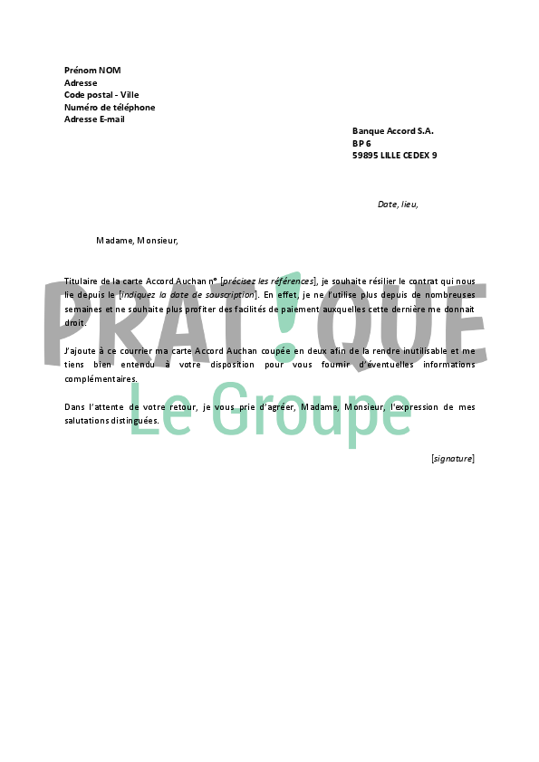 lettre de r u00e9siliation carte accord auchan