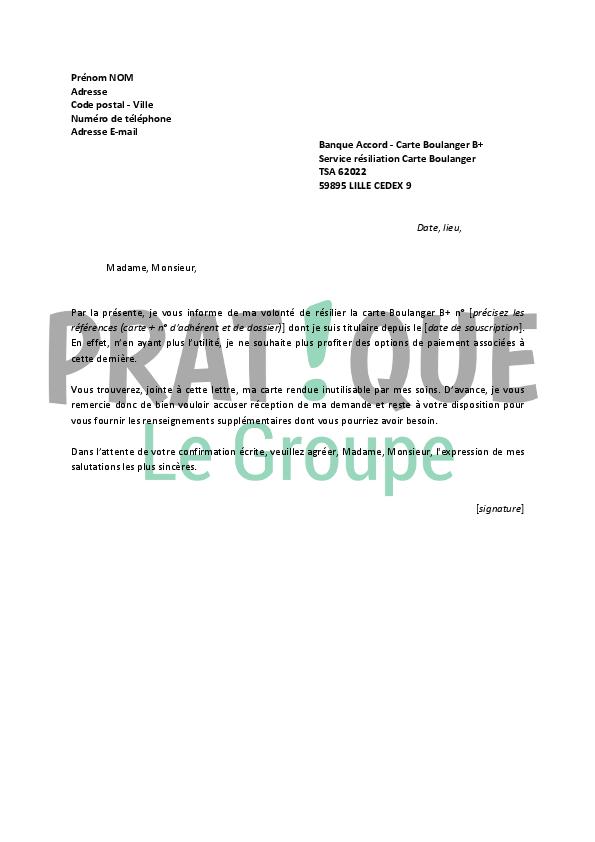 Carte Boulanger B Resiliation.Lettre De Resiliation Carte Boulanger B Pratique Fr