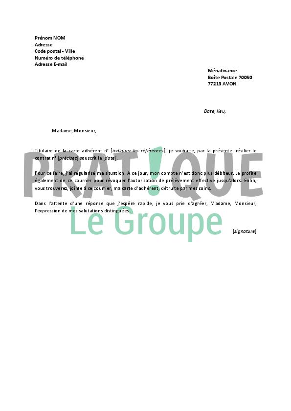 lettre de résiliation carte bleue Lettre de résiliation Carte Darty | Pratique.fr lettre de résiliation carte bleue