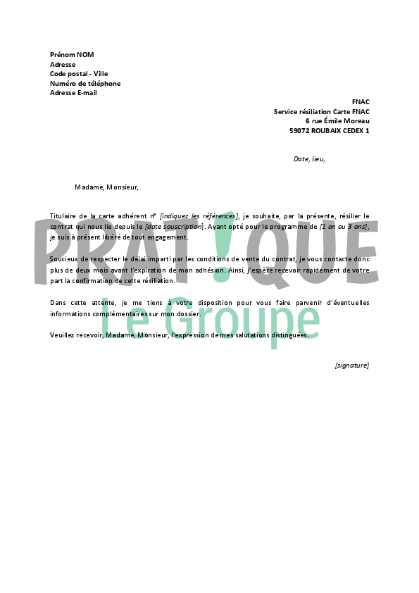 lettre resiliation carte casino