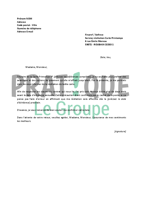 Modele lettre resiliation contrat facet document online - Demande de carte aurore ...