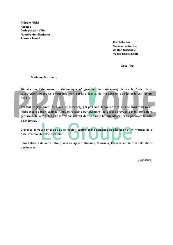 Lettre De Résiliation Ciel Telecom Pratique Fr