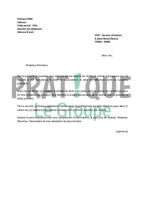 lettre de r u00e9siliation cnp assurances