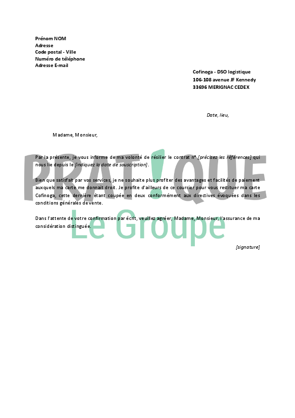 carte galerie lafayette cofinoga Lettre de résiliation Cofinoga | Pratique.fr