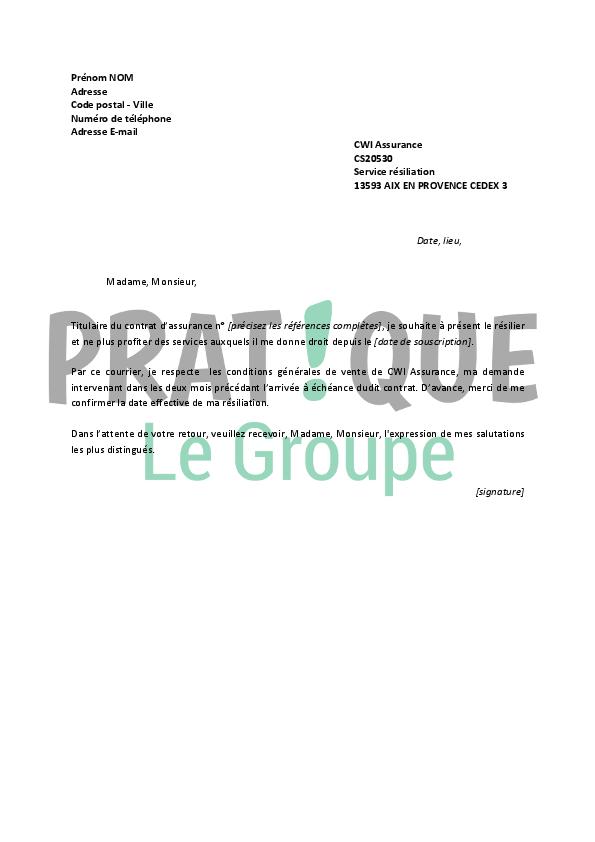 Lettre De Résiliation Cwi Assurance Pratique Fr
