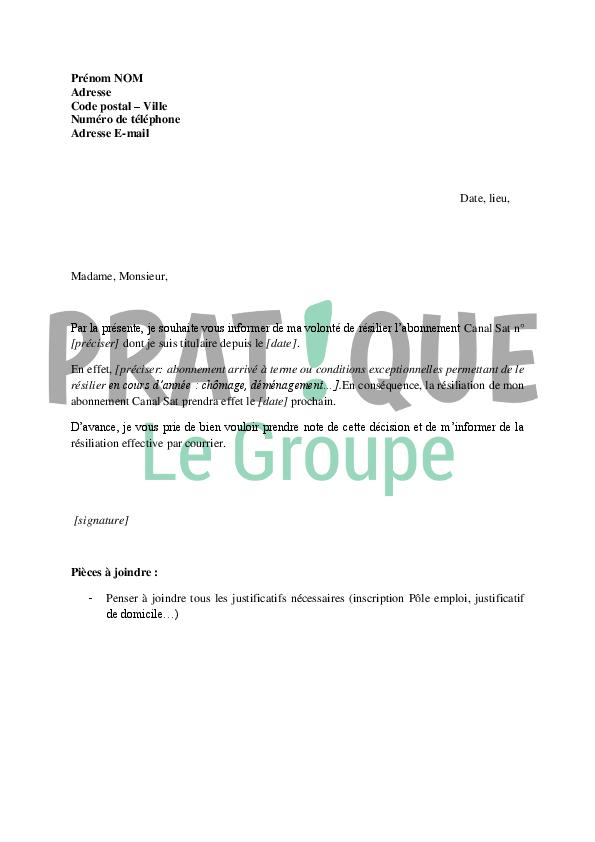 lettre de r u00e9siliation d u0026 39 abonnement canal sat