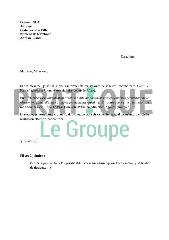 lettre de r u00e9siliation d u0026 39 abonnement carte le pass gaumont