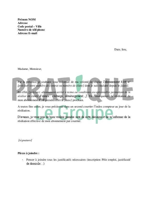 lettre de r u00e9siliation d u0026 39 abonnement edf