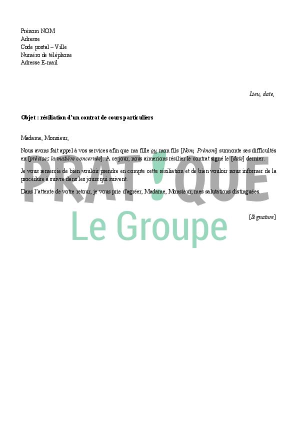 lettre de r u00e9siliation d u0026 39 un contrat de cours particuliers