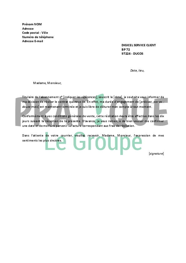 Lettre de r siliation digicel for Alarme securitas sans abonnement