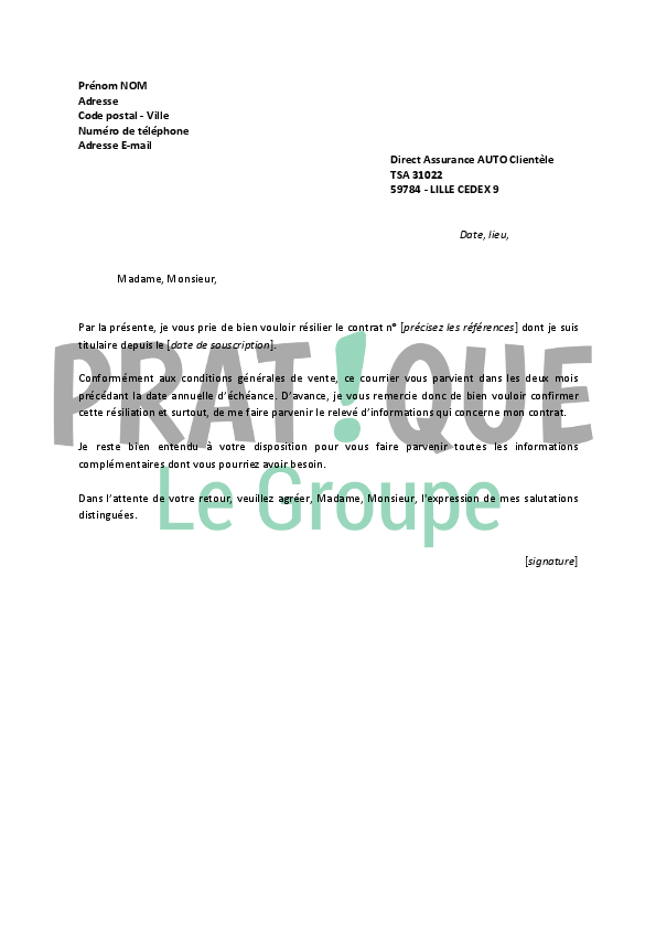 lettre de r u00e9siliation direct assurance