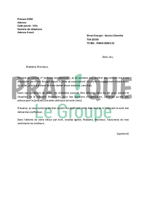lettre de r siliation direct energie