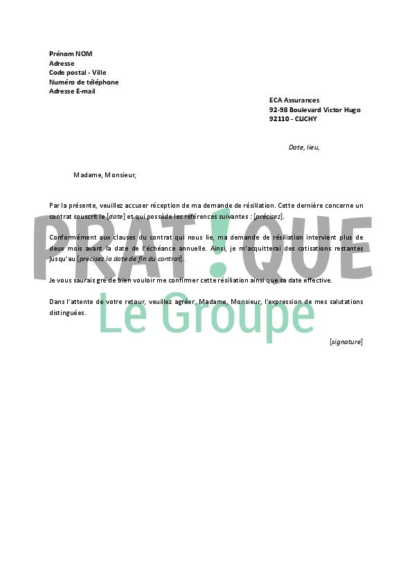 lettre de r u00e9siliation eca assurances