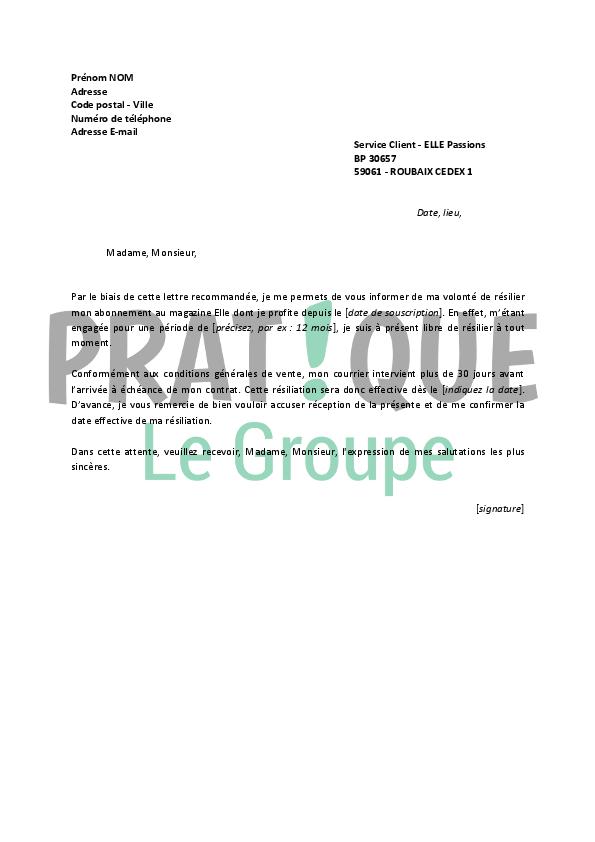Exemple De Lettre De Résiliation France Loisir - Le Meilleur Exemple