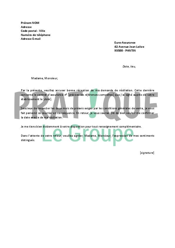 Lettre de r siliation euro assurance - Resiliation contrat d assurance voiture ...