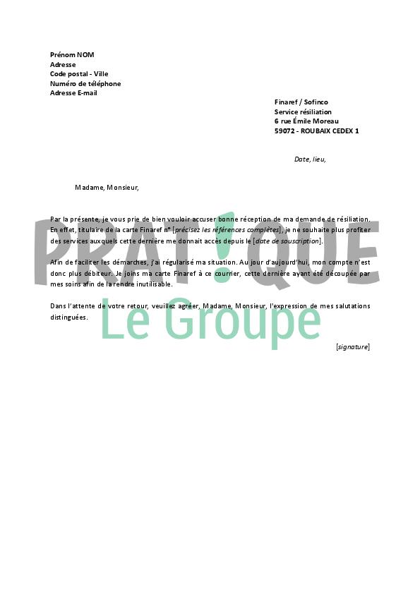 Lettre De Resiliation Finaref Pratique Fr