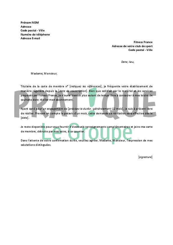 lettre de r u00e9siliation fitness france