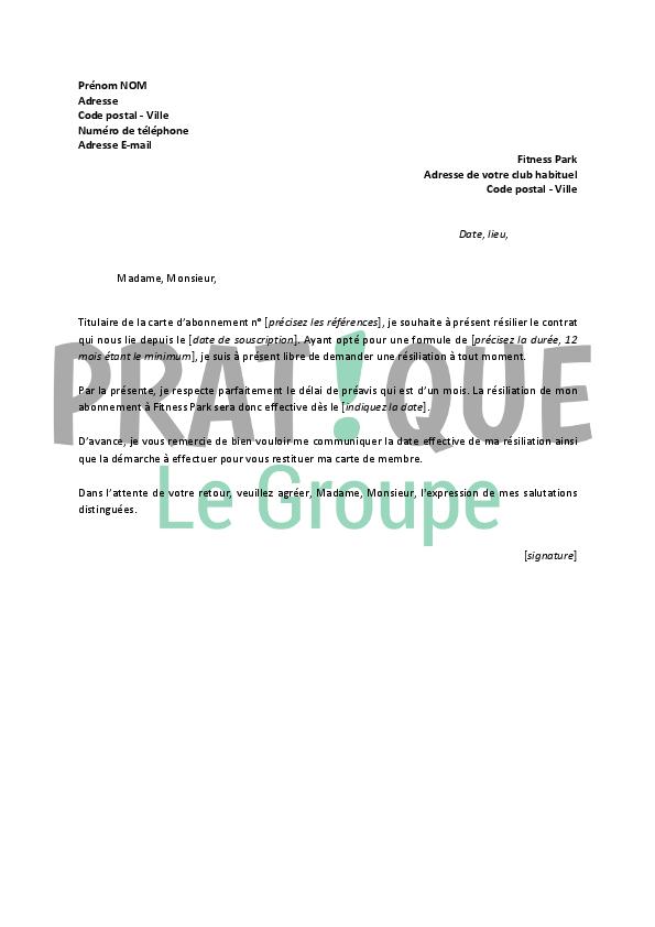 lettre de r 233 siliation fitness park pratique fr