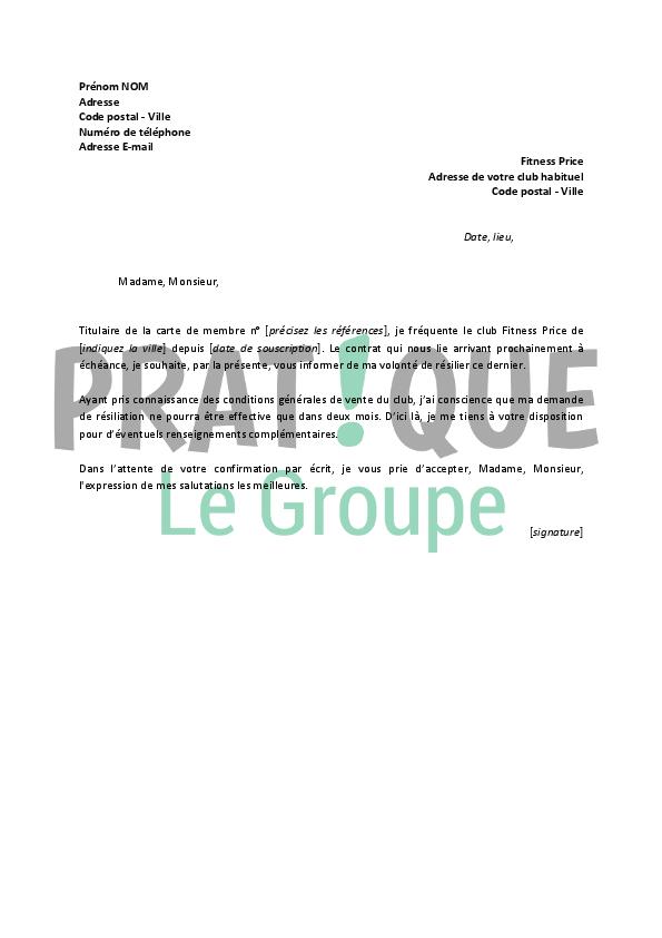 Lettre De Résiliation Fitness Price Pratique Fr