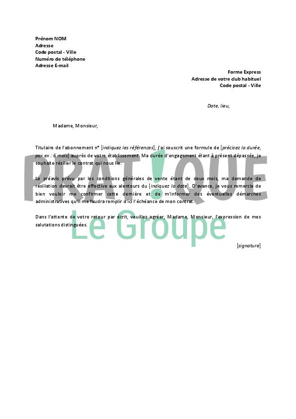 lettre de r u00e9siliation forme express