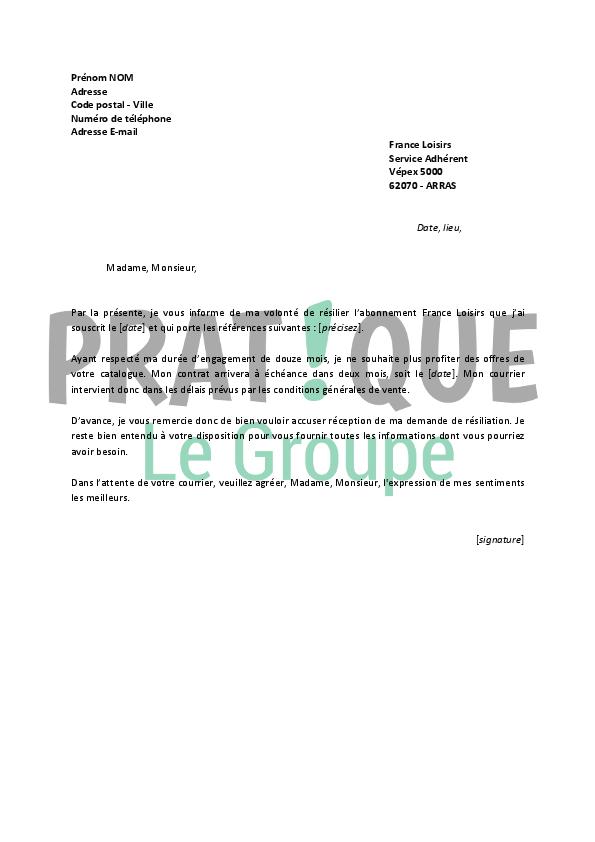 Lettre de r siliation france loisirs - France loisir parrainage ...